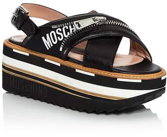 Moschino Women's Leather Slingback Platform Sandals