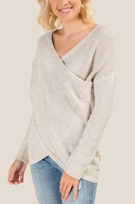 francesca's Heather Surplus Twist Sweater - Taupe