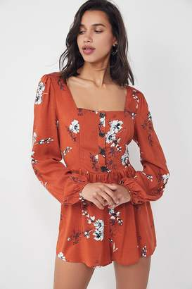Urban Outfitters Paulina Floral Square-Neck Romper