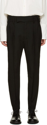 Ann Demeulemeester Black Pleated Wide-Leg Trousers $655 thestylecure.com