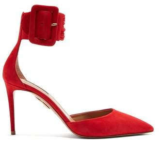 Aquazzura Casablanca 85 Suede Pumps - Womens - Red