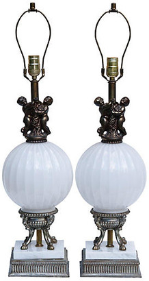 One Kings Lane Vintage Art Nouveau Table Lamps - Set of 2