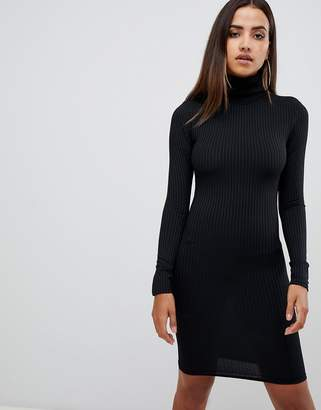 PrettyLittleThing Ribbed Roll Neck Long Sleeve Dress