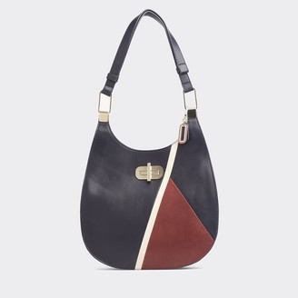 Tommy Hilfiger Leather Turnlock Hobo Bag