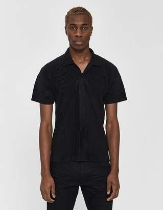 Issey Miyake Homme Plissé S/S Basics Collared Shirt in Black