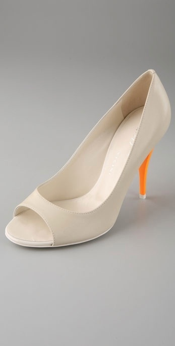 Tapeet Open Toe Pumps with Neon Heel