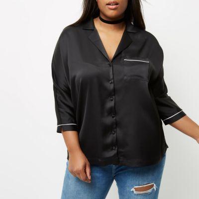 River IslandRiver Island Womens Plus black satin shirt