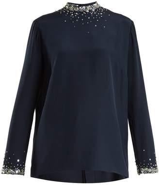 Miu Miu Crystal-embellished silk crepe de Chine top