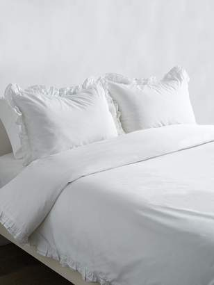 Melange Home Double Ruffle Cotton Percale Duvet Set