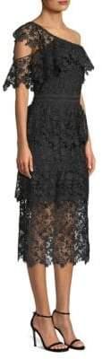 Joie Belisa Lace One-Shoulder Midi Dress