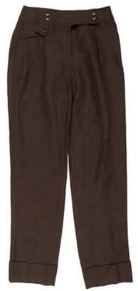 Armani Collezioni High-Rise Straight-Leg Pants Brown High-Rise Straight-Leg Pants