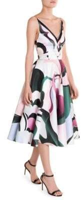 Emilio Pucci Duchess Satin Printed Fit-&-Flare Dress
