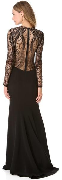 Monique Lhuillier Long Sleeve Gown with Web Lace
