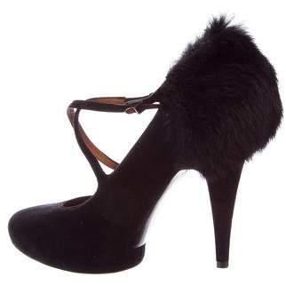 Givenchy Fur-Trimmed Platform Pumps