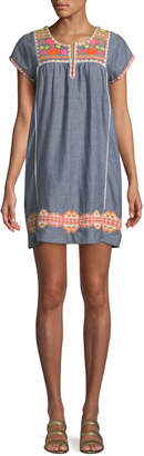 Letarte Embroidered Short-Sleeve Tunic Coverup