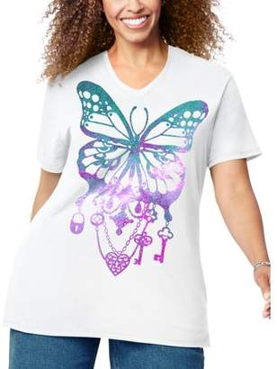 Just My Size Women's Plus-Size Graphic Short Sleeve V-neck Tee
