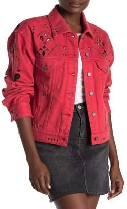 Blank NYC BLANKNYC Denim Eyelet Embroidered Denim Jacket