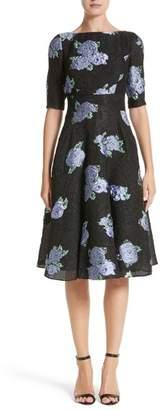 Lela Rose Floral Matelasse Fit & Flare Dress