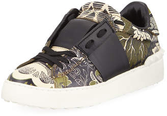 Valentino Printed Leather Studded Sneakers