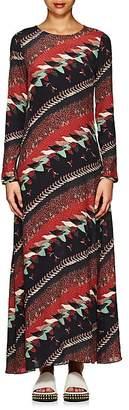 Warm Women's Bird-Print Crepe Long Dress