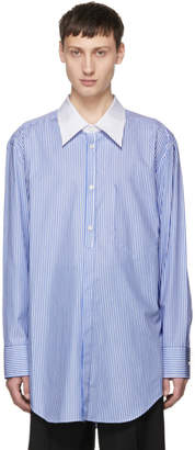 Maison Margiela White and Blue Stripe Oversized Banker Shirt