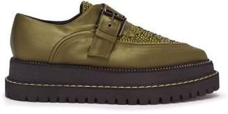 No.21 No. 21 - Raised Sole Monk Strap Shoes - Womens - Khaki