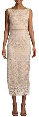 Marchesa Metallic Embroidered Cocktail Dress w/ Pearly Beads