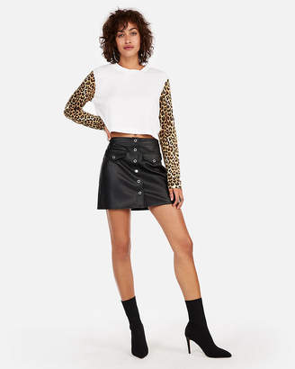 Express High Waisted (Minus The) Leather Snap Front Mini Skirt
