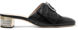 Crystal-embellished Leather Mules - Black