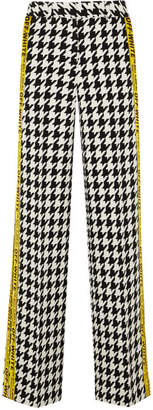 Off-White Appliquéd Houndstooth Wool-blend Wide-leg Pants - Black