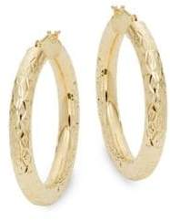Saks Fifth Avenue 14K Yellow Gold Textured Hoop Earrings