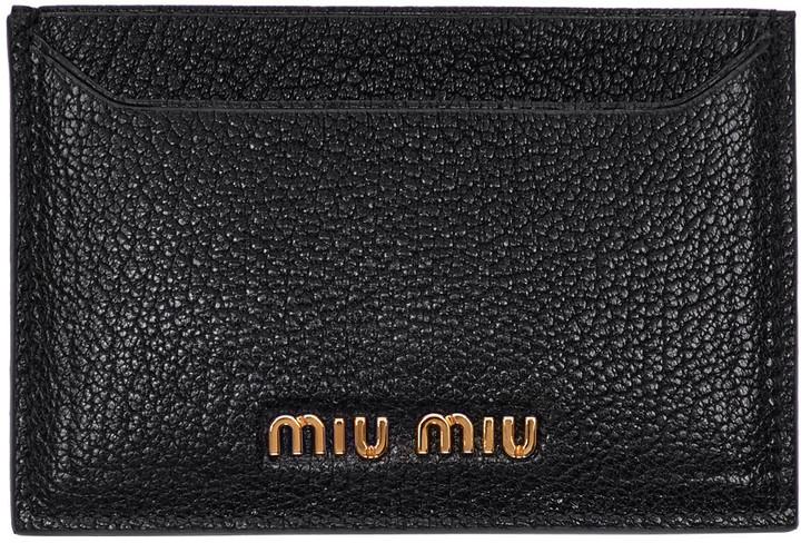 Miu MiuMiu Miu Black Logo Card Holder