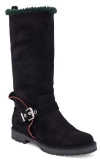 Fendi Shearling Fur-Lined Suede Boots