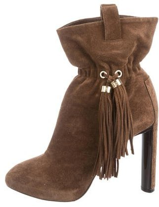 Céline Suede Tassel-Accented Ankle Boots