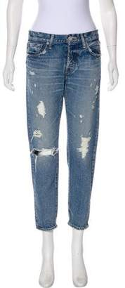 Moussy Distressed Mid-Rise Straight-leg Jeans