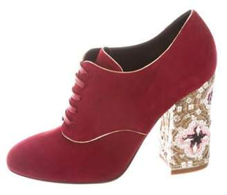 Dolce & Gabbana Suede Ankle Booties w/ Tags Red Suede Ankle Booties w/ Tags