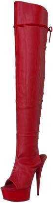 Pleaser USA Women's Del3019/rpu/m Boot, Faux Leather/Red Matte
