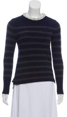 Sacai Luck Embellished Crew Neck Sweater Navy Luck Embellished Crew Neck Sweater