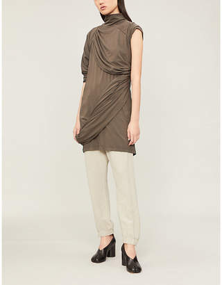 Drkshdw Asymmetric draped-panel cotton-jersey top