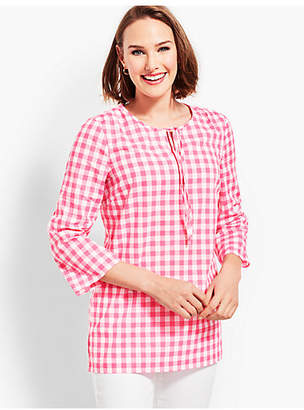 Talbots Tie-Front Top - Window Plaid