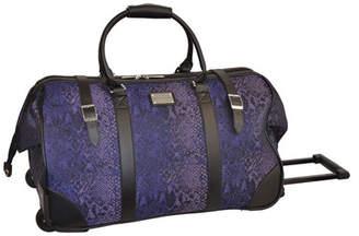 Adrienne Vittadini Python Rolling Duffel Bag in Purple