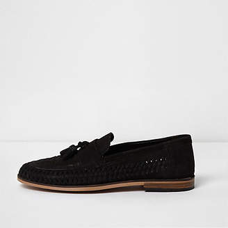 River Island Mens Black suede woven tassel loafers