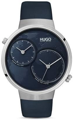 HUGO #TRAVEL Blue Leather Strap Watch, 42mm