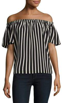 Striped Off-the-Shoulder Top $78 thestylecure.com