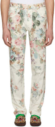 Loewe Off-White Multi Roses Five-Pocket Jeans
