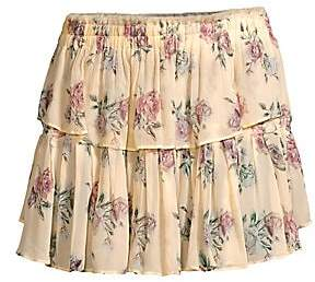 LoveShackFancy Women's Floral Silk Ruffle Mini Skirt