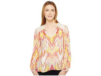 Hale Bob Lens Flair Lightweight Rayon Dot Woven Long Sleeve Top Women's Clothing