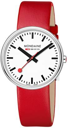 Mondaine Women's 'SBB' Swiss Quartz Stainless Steel and Leather Casual Watch, Color Red (Model: MSX.3511B.LC)