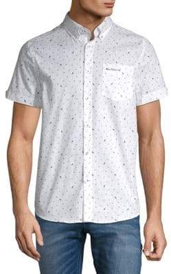 Ben Sherman Printed Short-Sleeve Cotton Button-Down Shirt