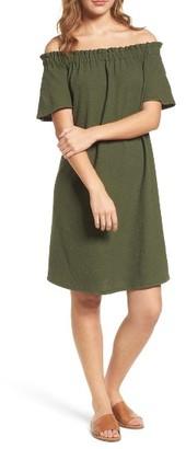 Petite Women's Caslon Off The Shoulder Slub Knit Shift Dress $65 thestylecure.com